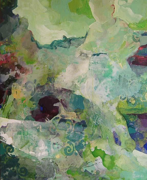 In between the green 80x100 cm
